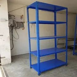 8 Feet Stainless Steel Powder Coated Slotted Angle Rack, For Supermarket, 150 Kg