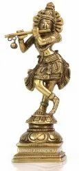 Nirmala Handicrafts Brass Krishna Statue Plain Work Indian God Idol Sculpture