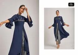 Four Button Raag Party Wear Designer Kurtis With Pants Collection