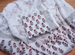 White Printed Designer Printed Unstitched Cotton Suits