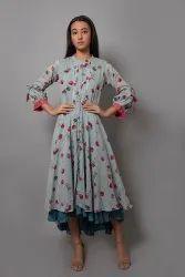 Anarkali Full Sleeve Ladies Designer Kurtis, Wash Care: Dry clean
