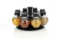 New 360 Degree Revolving Round Shape Transparent Spice Rack, 8 Piece Spice Set
