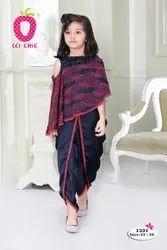 Girl Beautiful Blue Embroidery Stylish Poncho And Dhoti