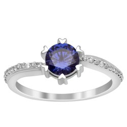 Solitaire Cut 6 Mm Round Blue Zirconia Gemstone Accents Women 925 Silver Ring