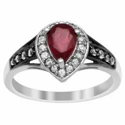 White Black Plated 925 Sterling Silver 1.24 Ctw Red Ruby Gemstone Solitaire Ring