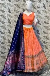 Orange And Blue Color Printed Lehenga Choli With Dupatta