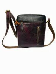 Dark Purple Unisex Leather Sling Bag, Size: 31*21cm (l*b)