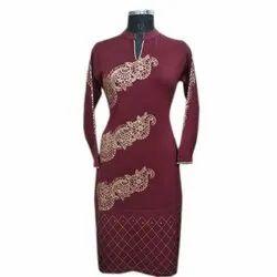 Party Wear Full Sleeve Designer Long Printed Woolen Kurti, Size: XL, Wash Care: Machine wash