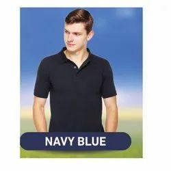 Cotton Navy Blue Plain Collar T Shirt