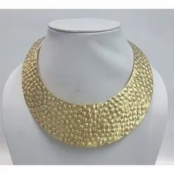 DCI Brass Gold Finish Hammered Necklace, Packaging Type: Box