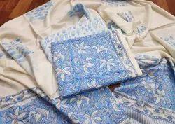Blue Designer Printed Unstitched Cotton Suit