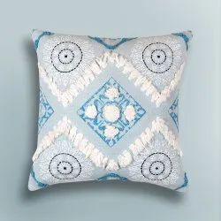 Multicolor Embroidery GEO EMBROIDERED CUSHION COVER, Size: 45*45 Cms
