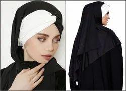 Women Chiffon Lycra Plain Tie Knot Turban Style Instant Hijab Scarf