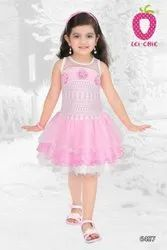 Girl Smart White Net Floral Applique Party Wear Frock