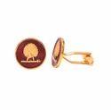Mayo College Gold Plated Mayoor Cufflinks With Maroon Enamel(Flat Base)