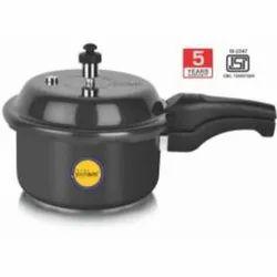 Black Wrought Aluminium 2 Litre Solitaire Hard Anodized Pressure Cooker, For Kitchen