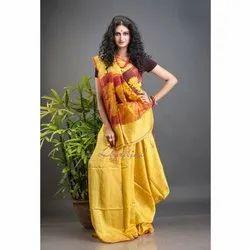 Aatmani Yellow Matka Silk Jamdani Saree, 6.5 m