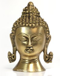 Nirmala Handicrafts Brass Buddha Head Gold Finish Antique Plain Work God Idol Figurine