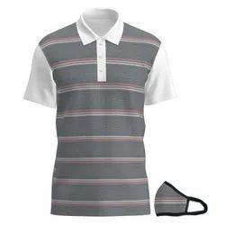Cotton Striped Nila Designer Polo Tshirts With Matching Mask