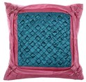 Designer Peacock Colored Satin Handcrafted Cushion Cover
