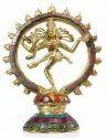 Brass Nataraja Lord Shiva Statue Stone Work Indian God Idol Sculpture