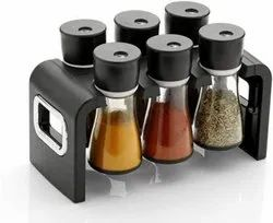 Plastic Multipurpose Stackable and Space Savvy Spice Rack for Kitchen (Set of 6 Jar)