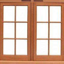 Teak Wood Brown Hinged Wooden Window