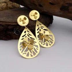 Gold Plated Flower Design Earring Drop&Dangle Earring Unique Designer Earring