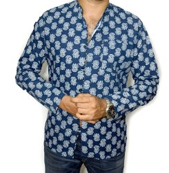 Casual Men's Indigo Block Print Shirts, Size: 40