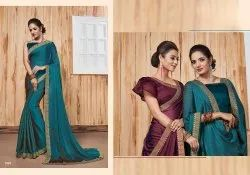 Designer Georgette Satin Patti Saree