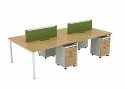 Open Desk Linear Face To Face Workstation With Metal Legs