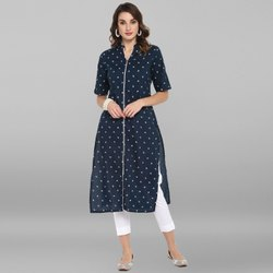 Janasya Women's Blue Pure Cotton Kurta(JNE3433)