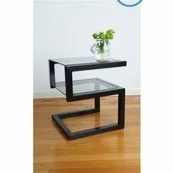 Black 3 Feet Glass Office Iron Table