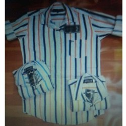 Stripped Collar Neck Cotton Casual Shirt, Size: M-XL