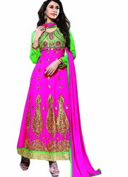 Pink Party Wear Mkc Designer 2 In 1 Lenenga Choli, Original Product, 20-35