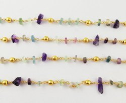 Fluorite Chips With Gold Bead Gemstone Rosary Chain