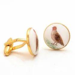 Hand Painted Birds On Enamel Cufflinks In Sterling Silver