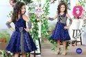 Elegant Blue Self Polka Dot Stylish Cut Sleeve Floral Applique Designer Frock