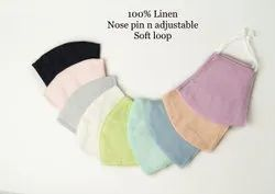 3 layers linen face mask resuable