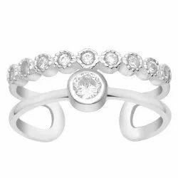 Crown Design 925 Sterling Silver White Zirconia Gemstone Women Stacking Ring
