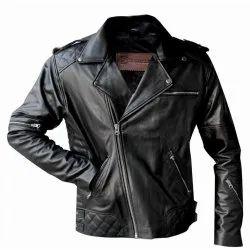 Full Sleeve Black Goat Biker Leather Jacket