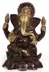 Nirmala Handicrafts Brass Lotus Ganesha Statue Hindu God Idol Sculpture Temple And Hall Decor
