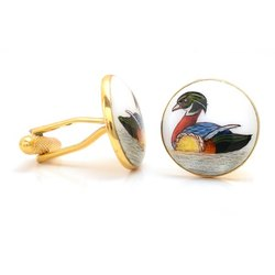 Hand Painted Duck 92.5 Sterling Silver And Enamel Cufflinks