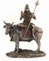 Copper Finish Sitting Shiva Statue Indian God Idol Sculpture
