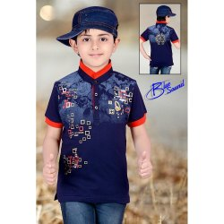 Coller Half Sleeves Kids Cotton Printed T-Shirts, Size: 7-9 Years