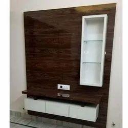 Balaji Plastiwood White,Brown Wooden TV Cabinet, For Hotel