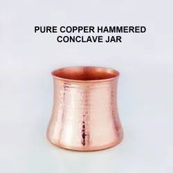 Cylindrical Tray Copper Hammered Jar, For Hotel, Packaging Type: Box