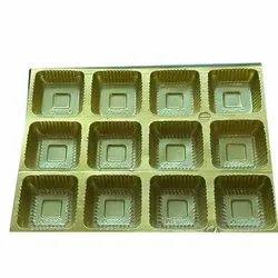 Rectangular Plastic Golden Chocolate Tray