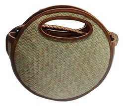 Mon Exports Brown Straw & Leather Shoulder Bag Handbag Rattan Tote, For Casual Wear, Size: Custom