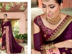 Party Wear Border Designer Embroidered Sana silk Saree, With blouse piece, 5.5 m (separate blouse piece)